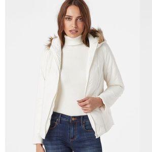 Chevron Puffer Jacket Faux Fur Hood White Size M